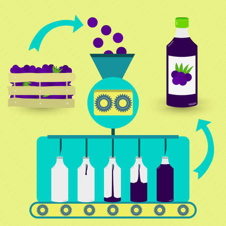 Acai juice fabrication process. Acai juice series production. Fresh acais being processed. Bottled acai juice. Brazilian fruit.
