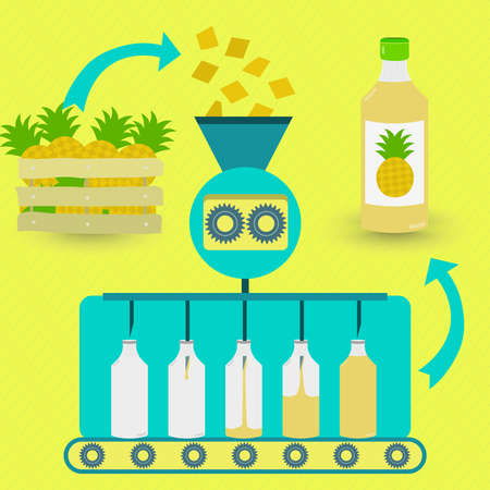 juice: Pineapple juice fabrication process. Pineapple juice series production. Fresh pineapples being processed. Bottled pineapple juice.