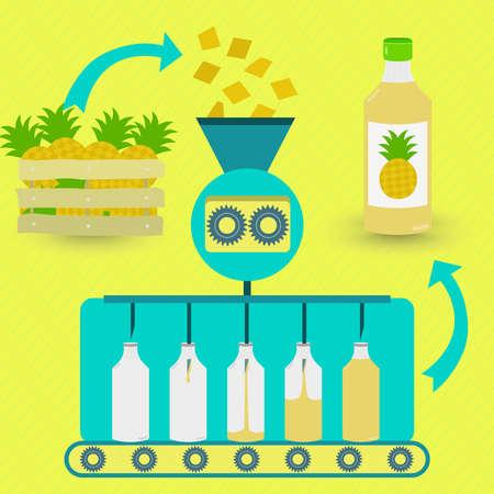 jugo de frutas: Proceso de fabricación de zumo de piña. La producción en serie de jugo de piña. Piñas frescas en trámite. Jugo de piña embotellada. Vectores