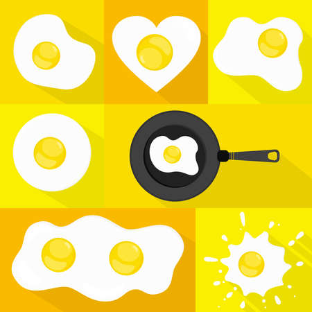 huevos fritos: Conjunto de los huevos fritos o huevos crudos. Muchas formas. Larga sombra. Vectores