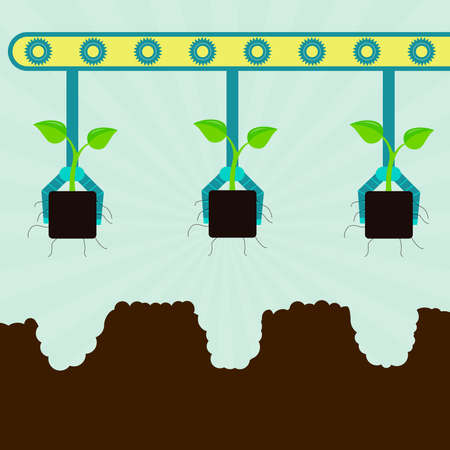 serial: Mechanical planting seedlings. Machine with grippers planting seedlings. Serial planting. Illustration