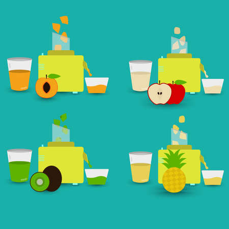 Four natural juices being prepared with food processor. Peach juice, apple juice, kiwi fruit juice, pineapple juice. Illustration