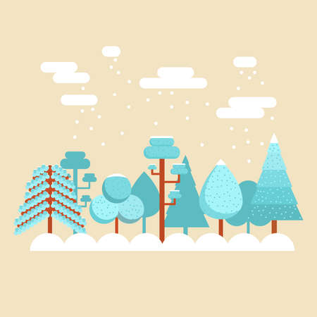 snow falling: Winter landscape with trees and pines. Snow falling. Flat design.