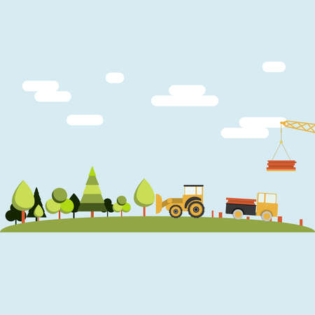 cuticle: Deforestation. Forest being cleared by a tractor, truck and crane. Lumber industry. Illustration
