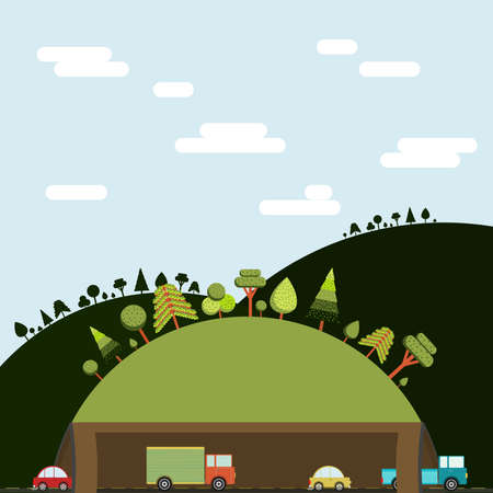 highway tunnels: Cars and Trucks through the tunnel. Scenery with mountains, trees and blue sky. Flat design. Illustration