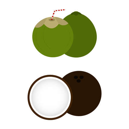 halved: Two kind of coconuts. Green and brown. Coconut whole and halved. White background. Isolated.