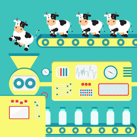 milk production: Production of cows milk. Factory producing milk from the cow. Conceptual.