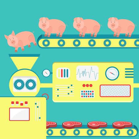 돼지에서 돼지 고기를 생산하는 공장. 도살장의 유. 일러스트