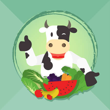 veganism: Happy cow presenting vegetables and fruits. Invitation to veganism and vegetarianism.