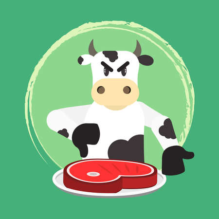 Angry bovine disapproving meat consumption. Invitation to veganism and vegetarianism. No beef.  イラスト・ベクター素材