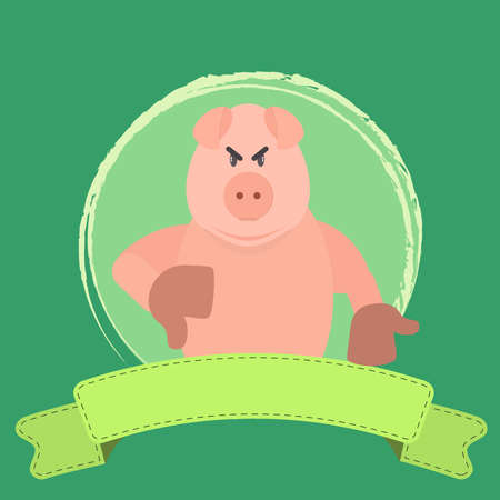 disapproving: Angry pig disapproving something. Blank ribbon for insert text. Illustration