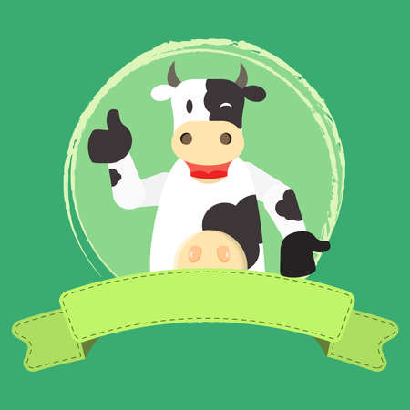 approving: Happy cow approving something. Blank ribbon for insert text. Illustration
