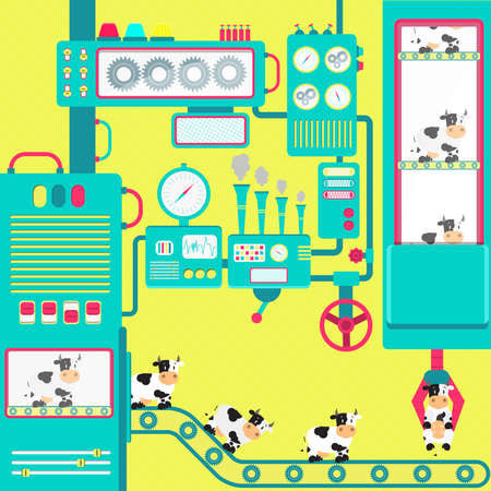conveyor system: Colorful factory of cows with cute machines. Fantasy. Conceptual. Flat design.