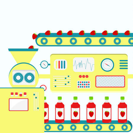 producing: Factory producing strawberry juice from fresh strawberry. Industrial production. Illustration