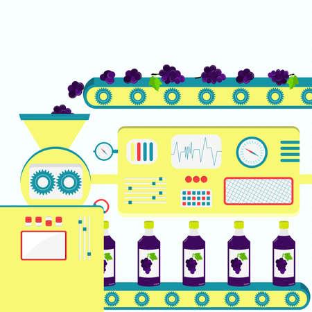 grape juice: Factory producing grape juice from fresh grape. Industrial production.