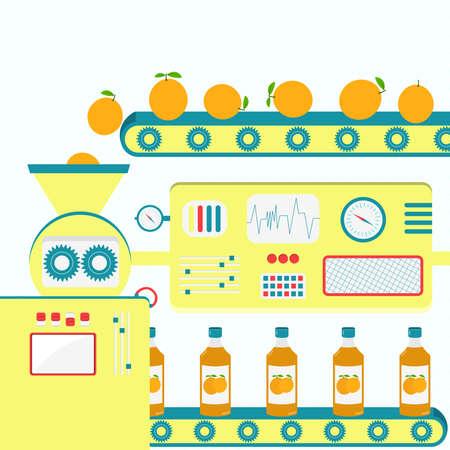 Factory producing orange juice from fresh orange. Industrial production.