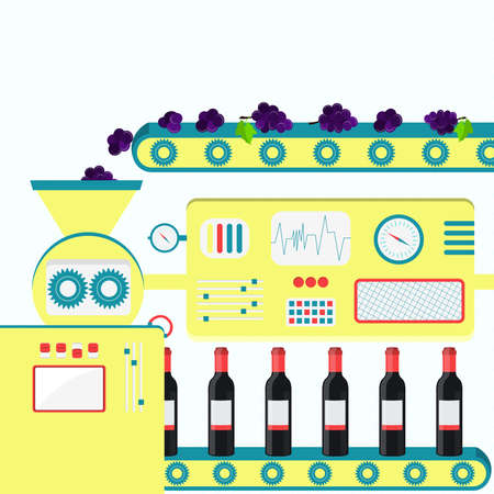 conveyer: Factory producing wine from fresh grapes. Industrial production of wine bottles with dry wine, red wine or sweet wine.