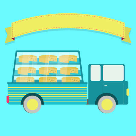 swiss cheese: Truck carrying chesee in a glass box. Swiss cheese or Emmental. Blank ribbon for insert text. Illustration