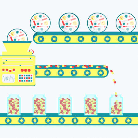 producing: illustration of factory producing drugs, pills from microorganism. Antibiotic production.