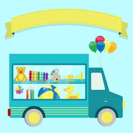transport truck: illustration of truck with toys behind a window. Empty ribbon for insert text.