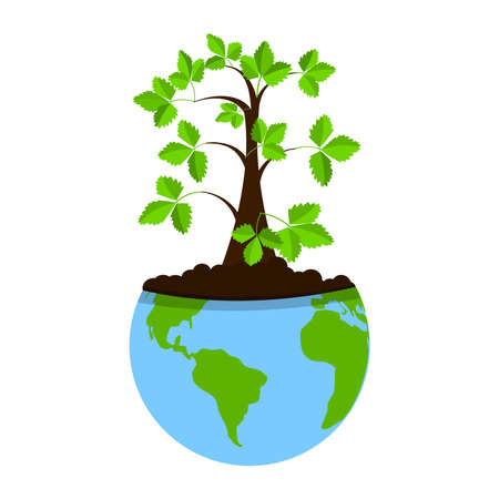 planted: Tree planted within the planet earth. Concept. Metaphorical. Illustration