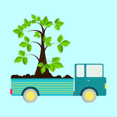 planted: Truck carrying tree planted in the truck body. Concept. Metaphorical.