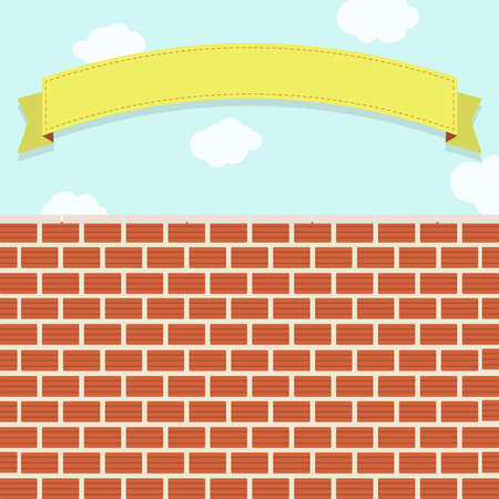 clay brick: Clay brick wall under the blue sky with clouds. Ribbon for insert text.