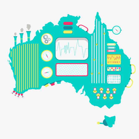 Map of Australia like a cute machine with buttons, panels and levers. Isolated. White background.