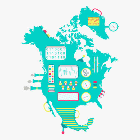 north america: Map of North America like a cute machine with buttons, panels and levers. Isolated. White background.