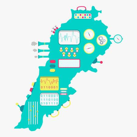 Mapa del Líbano como una máquina linda con botones, paneles y palancas. Aislado. Fondo blanco. Ilustración de vector