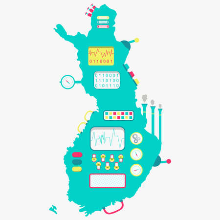 land development: Map of Finland like a cute machine with buttons, panels and levers. Isolated. White background. Illustration