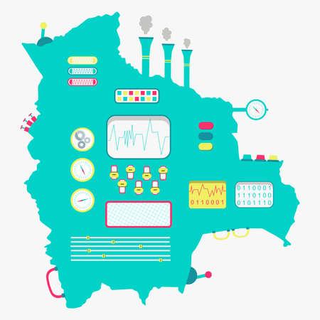 mapa de bolivia: Mapa de Bolivia como una máquina linda con botones, paneles y palancas. Aislado. Fondo blanco.