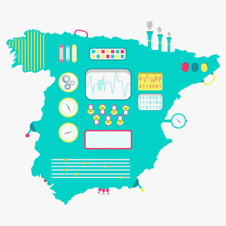 iberian: Map of Spain like a cute machine with buttons, panels and levers. Isolated. White background.