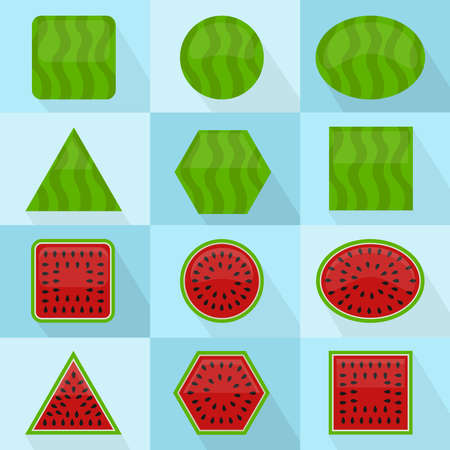 Watermelon in different geometric shapes. It can be used as icons. Interior and exterior of the fruit. With long shadows. Illustration