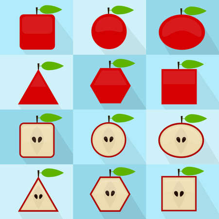 Apple in different geometric shapes. It can be used as icons. Interior and exterior of the fruit. With long shadows.