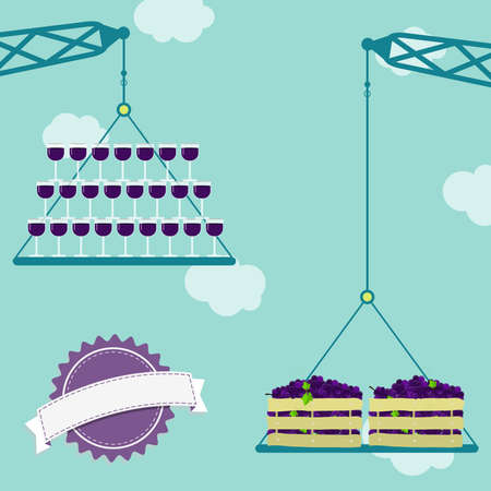 purple grapes: Cranes carrying crate of fresh purple grapes and red wine glasses. Blue sky in the background. Blank ribbon for insert text.