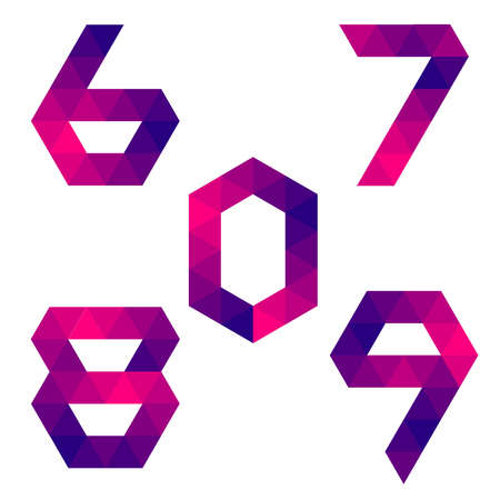 7 8: Series of numbers 6, 7, 8, 9, 0 formed by colored triangles. Geometric shape. White background. Isolated. Illustration