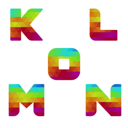 Colorful alphabet. Serie of letters formed by geometric shapes, triangles. White background. Isolated. Letter k, l, m, n, o.