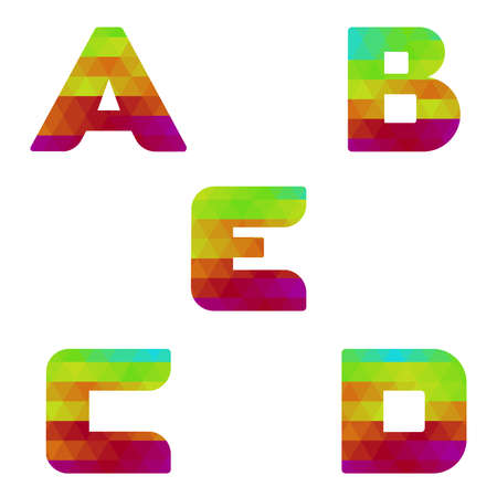 serie: Colorful alphabet. Serie of letters formed by geometric shapes, triangles. White background. Isolated. Letter a, b, c, d, e.