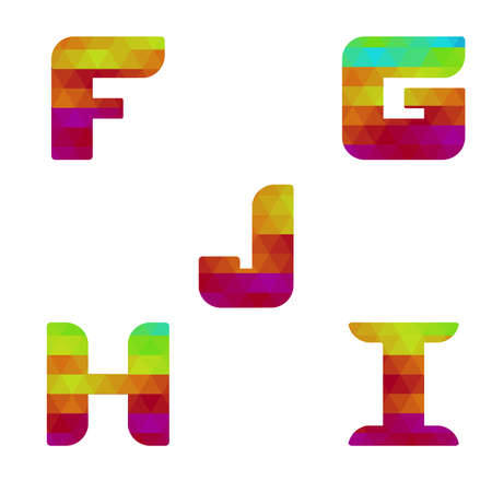 serie: Colorful alphabet. Serie of letters formed by geometric shapes, triangles. White background. Isolated. Letter f, g, h, i, j.