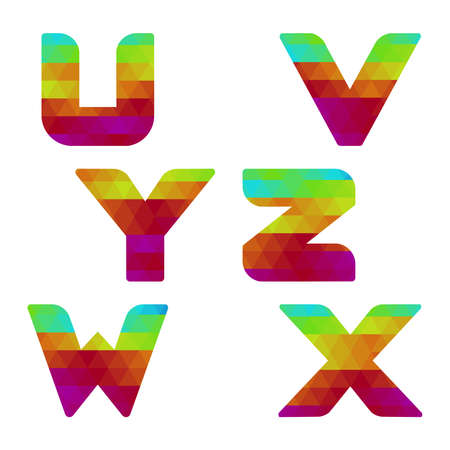 serie: Colorful alphabet. Serie of letters formed by geometric shapes, triangles. White background. Isolated. Letter u, v, w, x, y, z.