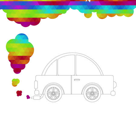 releasing: Car skirted by black line and no fill releasing colored smoke from the escape pipe. White background. Illustration