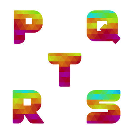 serie: Colorful alphabet. Serie of letters formed by geometric shapes, triangles. White background. Isolated. Letter p, q, r, s, t.