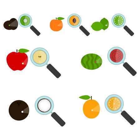 amplified: Set of fruit amplified by a loupe. Magnifying glass showing the inside of the fruit. Piece of fruit. White background. Isolated.