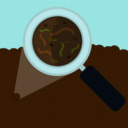 nutrients: Magnifying glass enlarging the worm and other small body on the earth. Elements with vertical and horizontal lines. Illustration