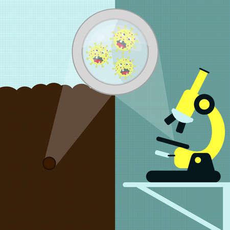 Lupe, um die Cartoon-Virus auf der Erde zu vergrößern. Bodenprobe und Mikroorganismus wird unter dem Mikroskop im Labor analysiert.
