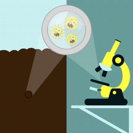 Magnifying glass enlarging the cartoon virus on the earth. Soil sample and microorganism being analyzed under the microscope in the laboratory.