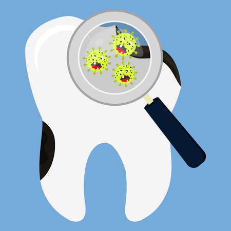 rotten: Rotten tooth decay enlarged by a magnifying glass. Cartoon microorganisms.