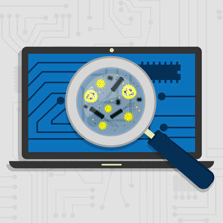 virology: Analyzing the hardware and the electronic circuit of the laptop with a magnifying glass.Viewing virus and bacteria magnified. Illustration