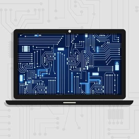 circuitos electronicos: Ordenador portátil que muestra los circuitos electrónicos del interior.